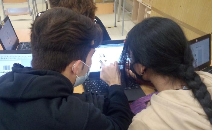 """Dos alumnos analizando juntos una imagen al ordenador dentro del proyecto """"Cracking the genetic code: replicating a scientific discovery."""
